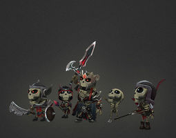 Low Poly Mini Skeleton Swarm Pack 3D model