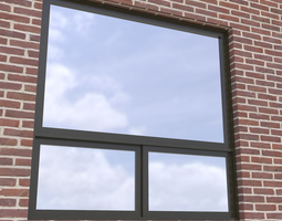Modern architectural window fixed with bottom 3D model