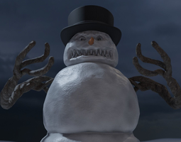 Bad Scary Snowman 3D model game-ready
