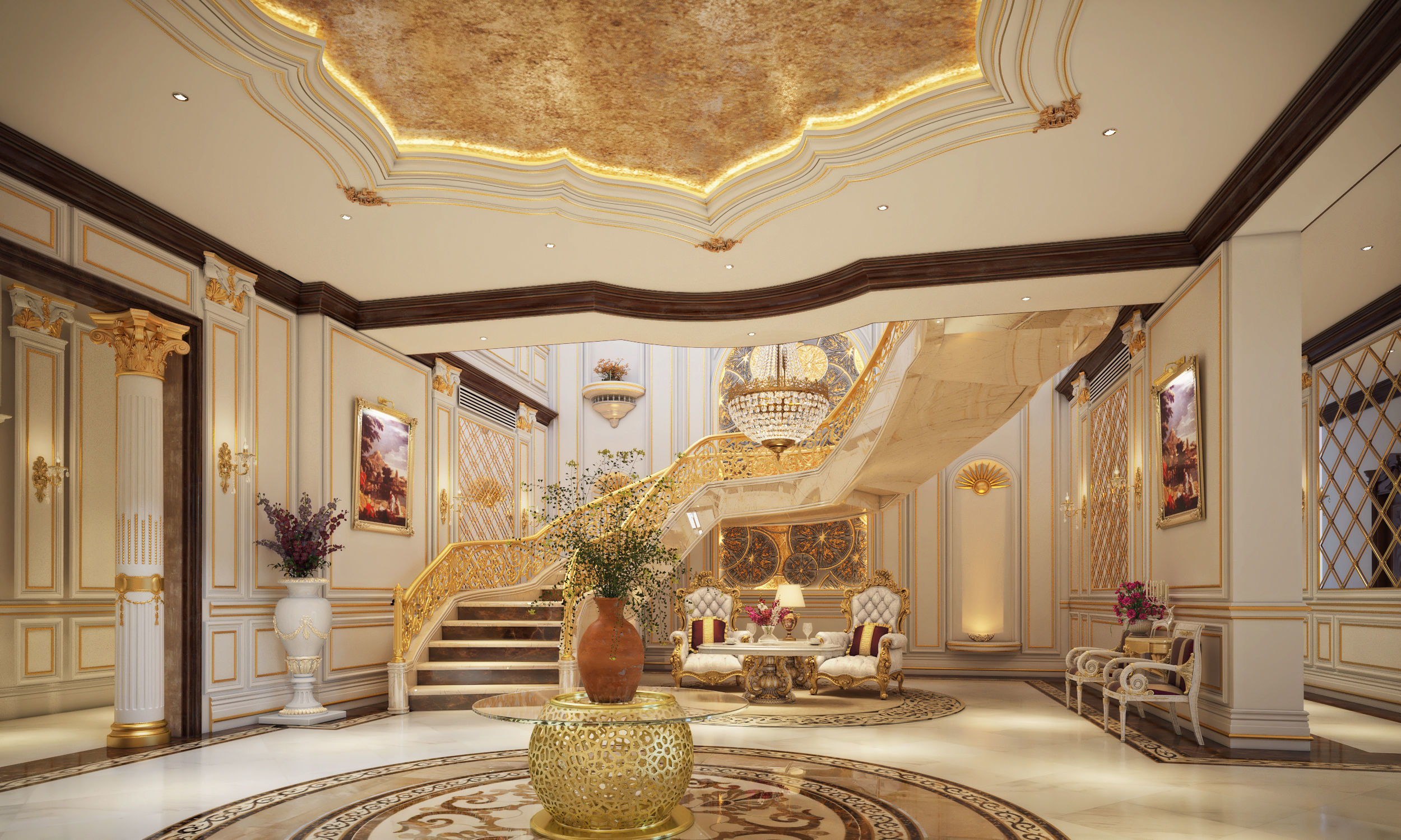 Stair Hall Entrance Living Room Dining 3d Model Max Tga 2