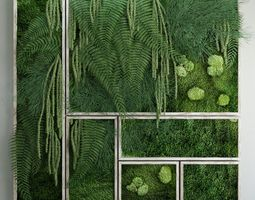 Moss and fern fytowall 3D model