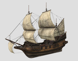 Realistic Caravel Ship - Game Ready 3D asset