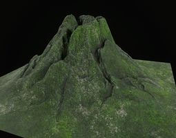Low poly volcano mountain model 3D asset