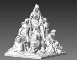 3D print model Queen Cleopatra and slaves