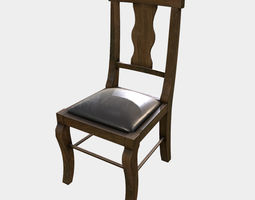 Low Poly PBR Dining Chair bar-stool 3D asset game-ready