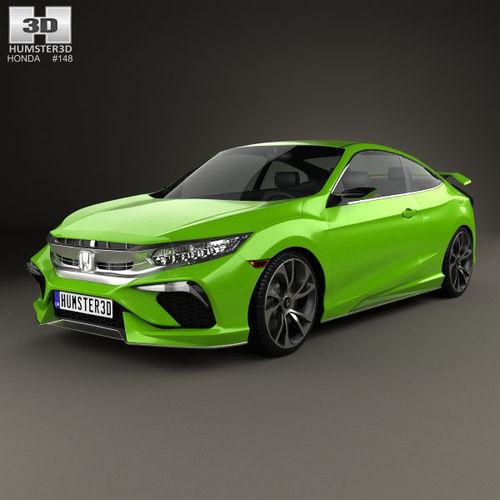 Honda civic coupe concept 2015 3d cgtrader for Honda civic 2015 model