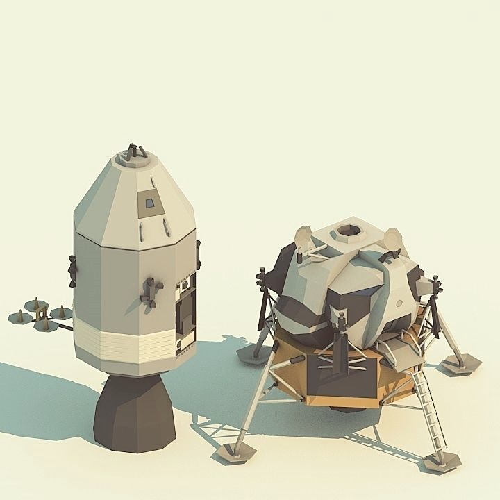 Apollo-11 LowPoly models pack