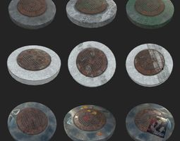 3D asset LOW POLY Russian-USSR sewer 1972 PBR LOD