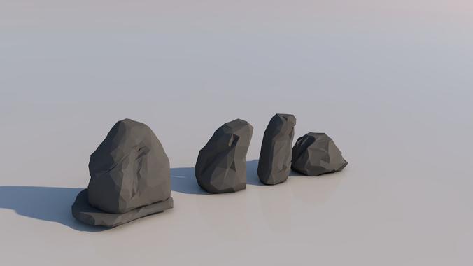 low poly rocks 3d model low-poly obj mtl 1