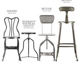 Industrial stools and chairs 3D