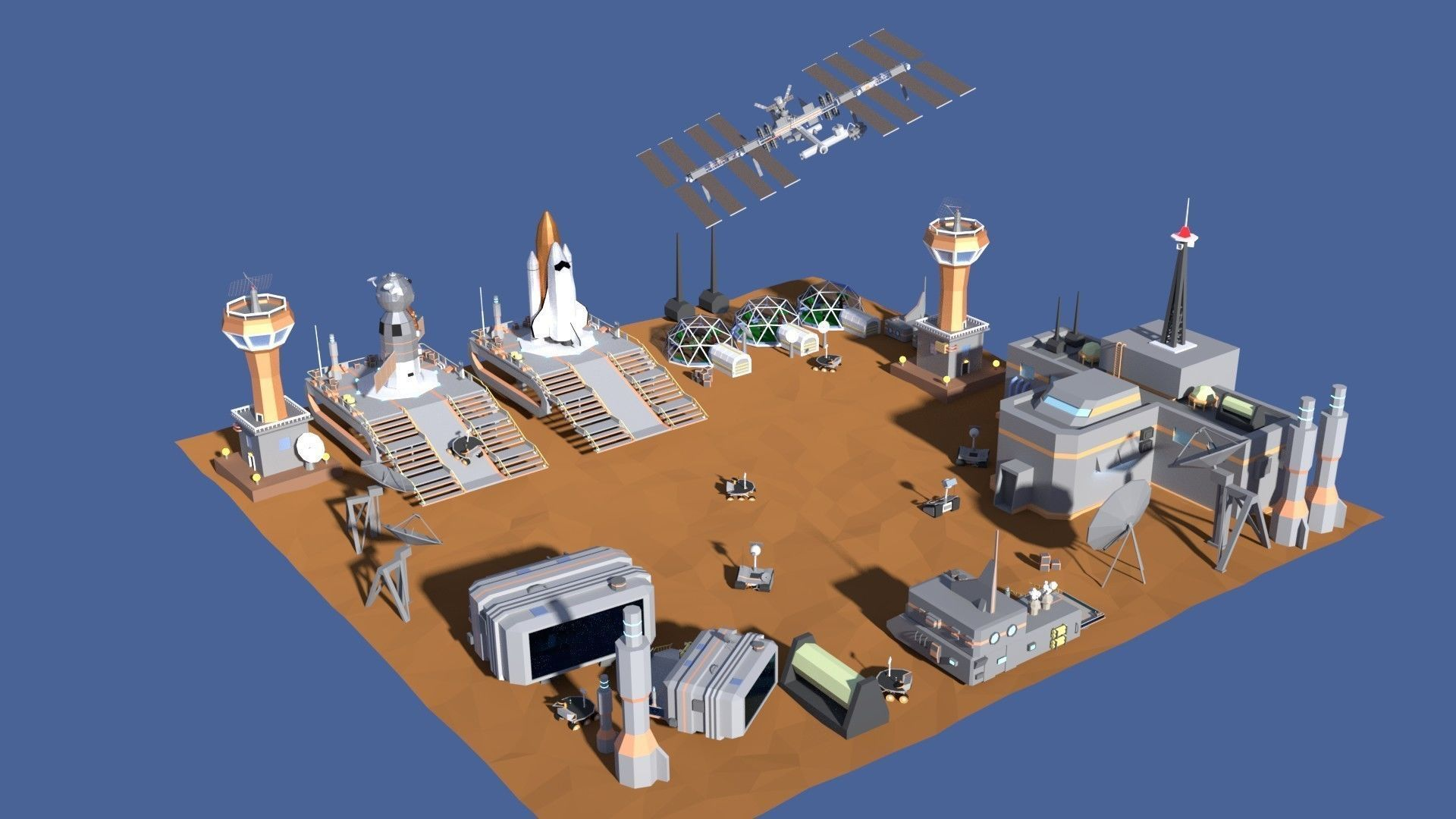 Low Poly Cartoony Space Colony Pack