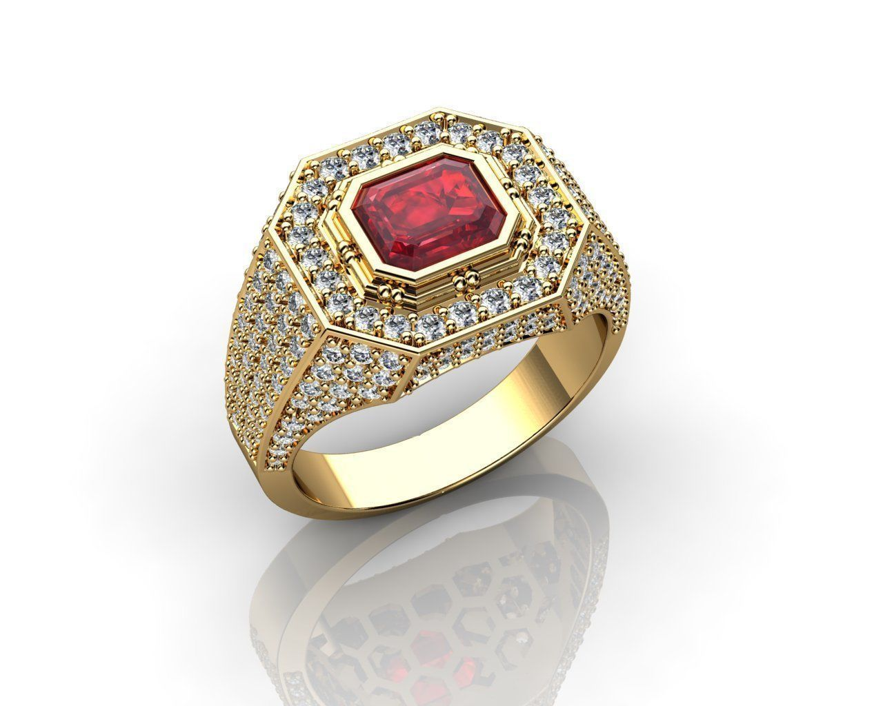 Ruby Yellow Gold Rings for Men 3D print model | CGTrader