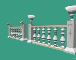 Architectural Balustrade - Palace Decor Baroque-1 3D asset