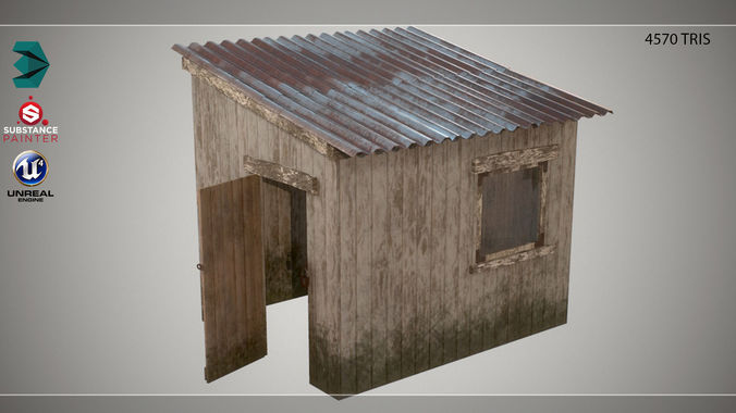 low poly small wooden cabin shed pbr 3d model low-poly obj mtl 3ds fbx dae tga 1