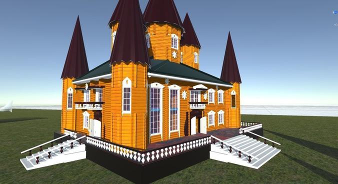 russian wooden house in siberian village -1 terem   for 3d games 3d model fbx 1