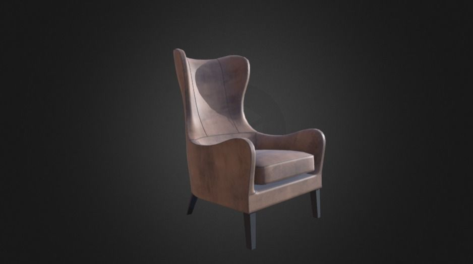 Awe Inspiring Garbo Leather Wingback Chair 3D Model Machost Co Dining Chair Design Ideas Machostcouk