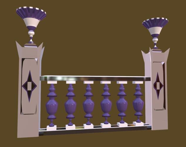 balustrade violaceous palace decor baroque - 3 3d model low-poly fbx 1