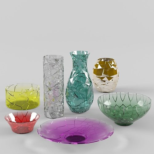 Tableware Broken Vases 3d Model Cgtrader