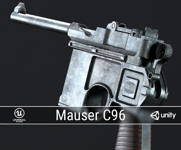 pbr mauser c96 3d model low-poly obj fbx ma mb dae 1