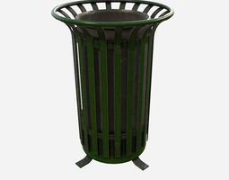 Low Poly PBR Trash Can 3D asset