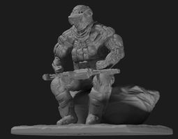 Sci fi cyborg soldier miniature 3D printable model