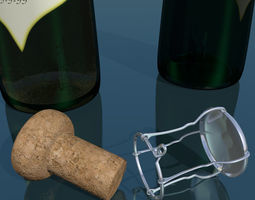 3D asset Champagne bottle low poly