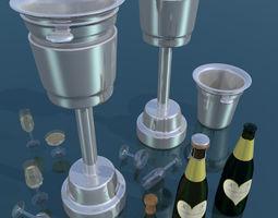 3D asset Set champagne low poly