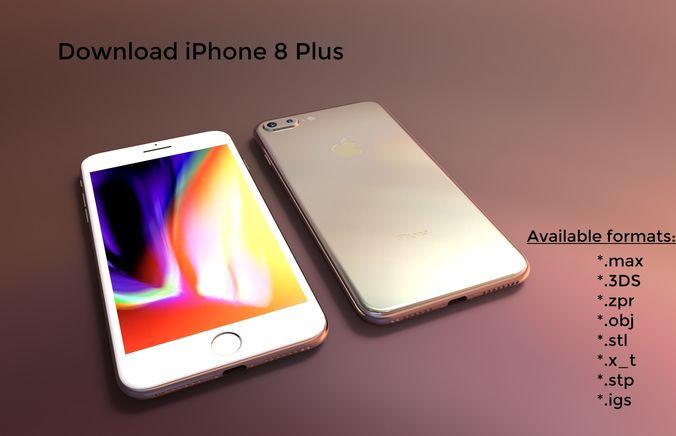 iphone 8 plus - original dimensions 3d model 3d model max obj mtl 3ds stl ige igs iges stp 1
