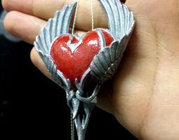 3d print model heart pendant