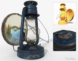 3D model Old Oil Lamp PBR Low Poly