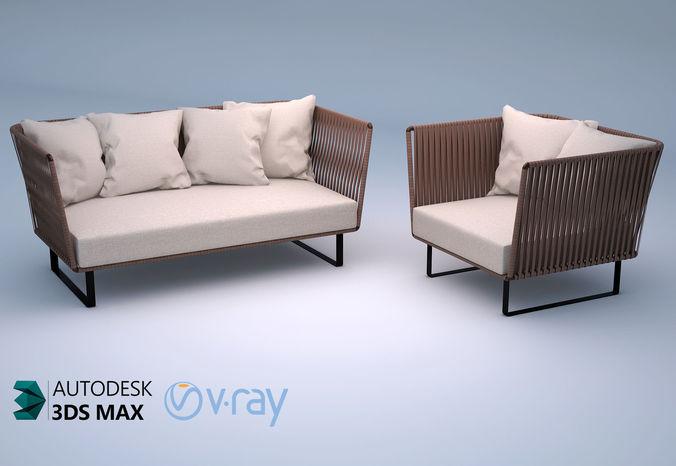 kettal bitta 2-seater sofa and club armchair 3d model max obj mtl 3ds fbx 1