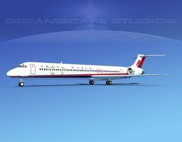 3D model McDonnell Douglas MD83 Trans World Airways 2