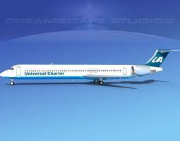 3D model McDonnell Douglas MD83 Universal Airlines