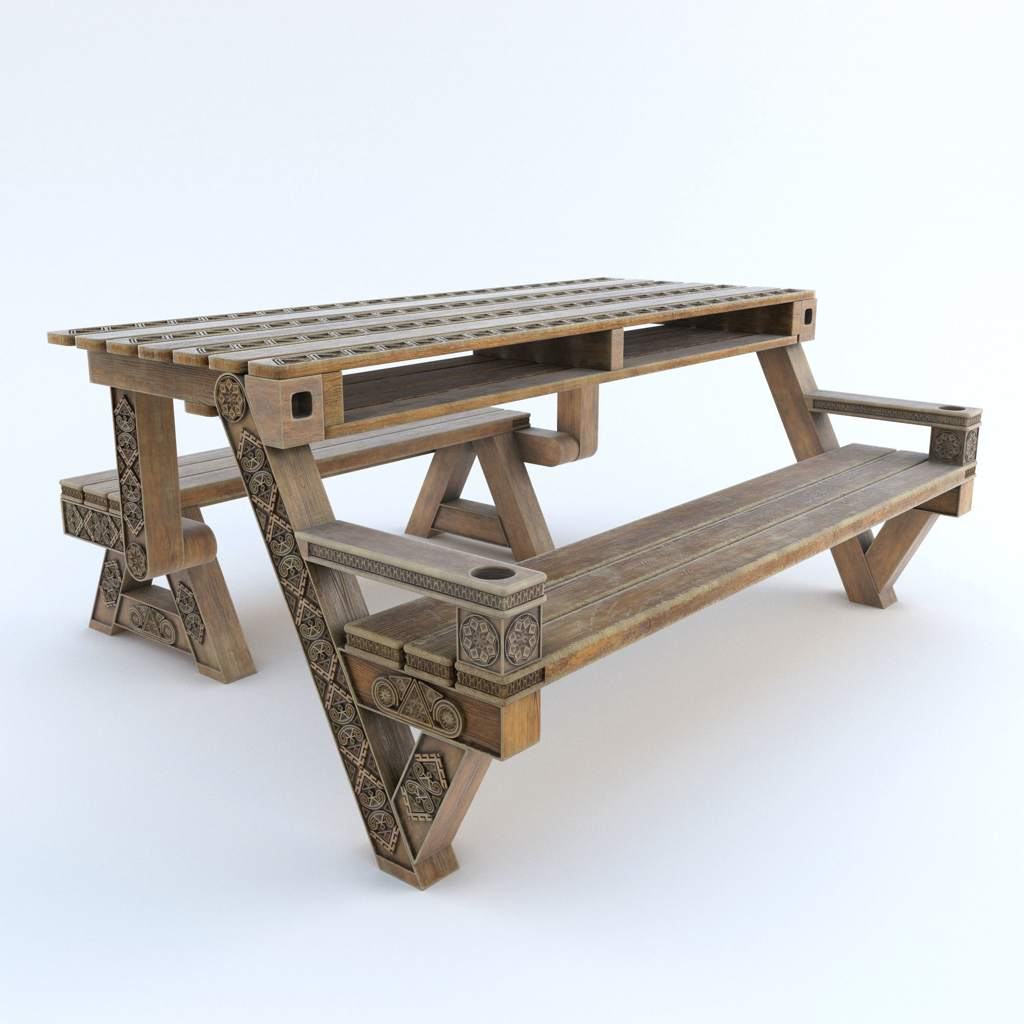 Transformer bench table with carving