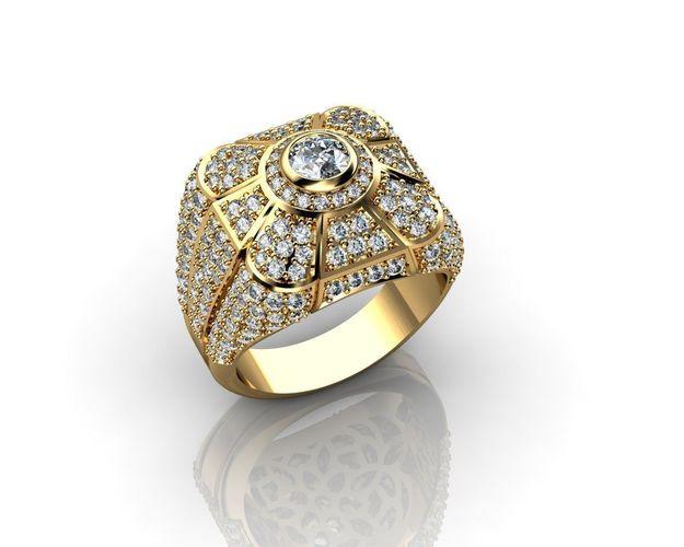 Diamond Ring Or Wedding Band For Men In 18k Gold 3d Model Stl 3dm 1