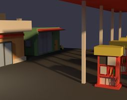 3D model Low Poly Gas Station