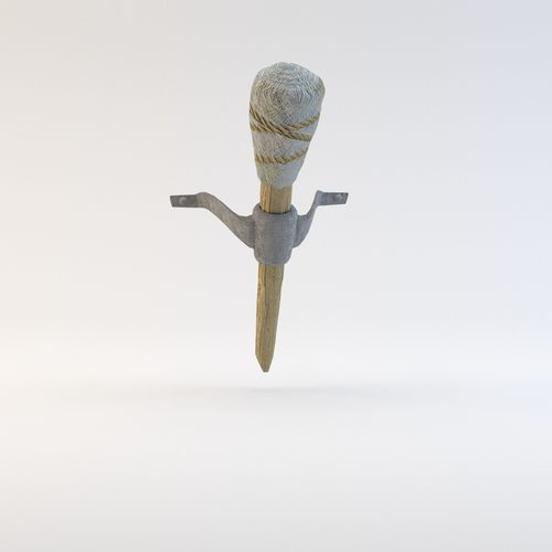 Simple Medieval Torch With Holder VR AR Low Poly 3D Model