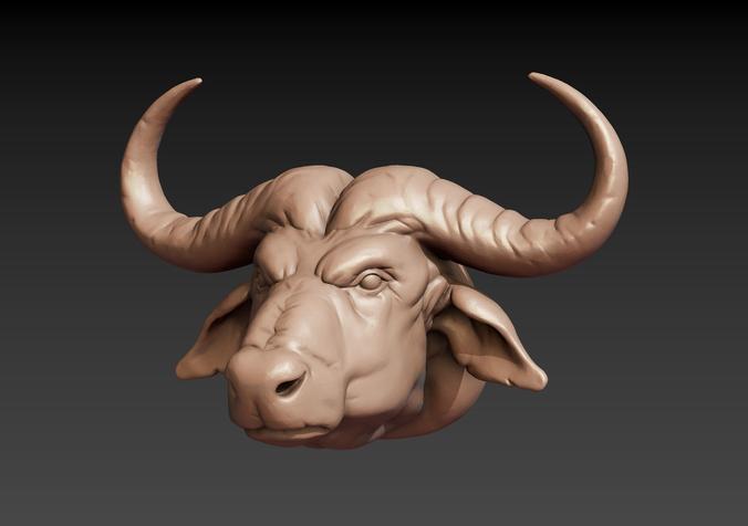 african buffalo head 3d model obj mtl fbx stl blend 1