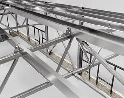 Hangar industrial construction 3D model concrete