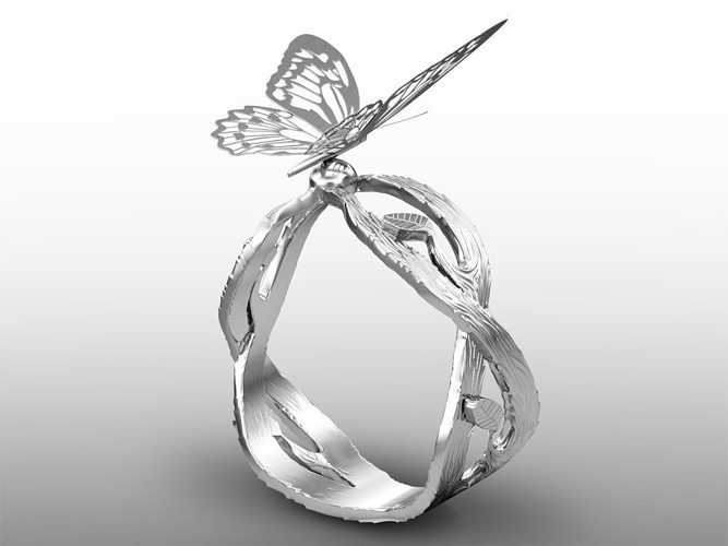 butterfly ring 3d model max obj mtl fbx stl 1