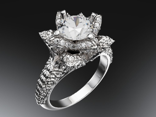 rings 3D print model Lotus engagement ring CGTrader