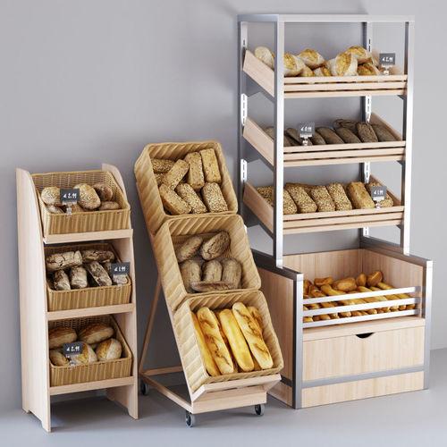 bread display racks 3d model max fbx 1