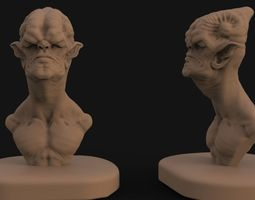 Alien bust sculpt 1 3D printable model