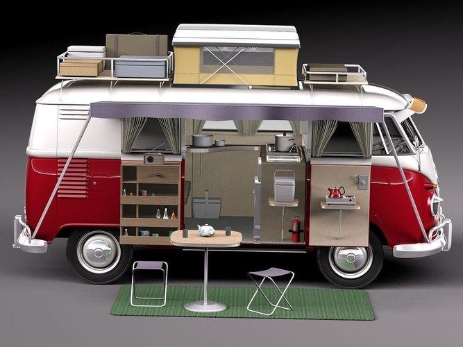 volkswagen camper van 1950 open 3d model max obj mtl 3ds fbx c4d lwo lw lws 1