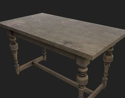 shabby 3D model Old Table