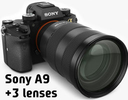 Sony Alpha 9 with three lenses 3D