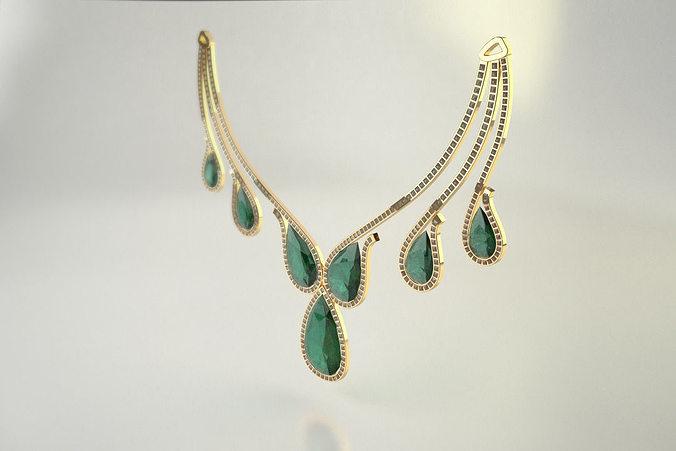 diamond necklace - pear cut diamond 3d model max obj mtl fbx stl 1