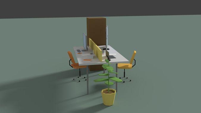 Low Poly Cartoony Office Desk 2