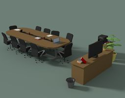 Low Poly Meeting Room 3D model