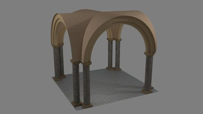 norman arch and pillars 3d model low-poly obj mtl 3ds blend dae x3d 1
